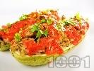 Рецепта Пълнени лодки от тиквички с гъби печурки, домати и ориз